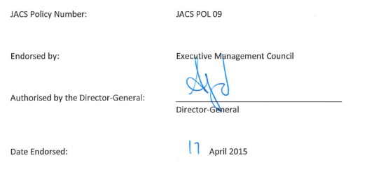 Image Of Endorsement XA JACS Policy Number POL 09 Endorsed By Executive Management Council