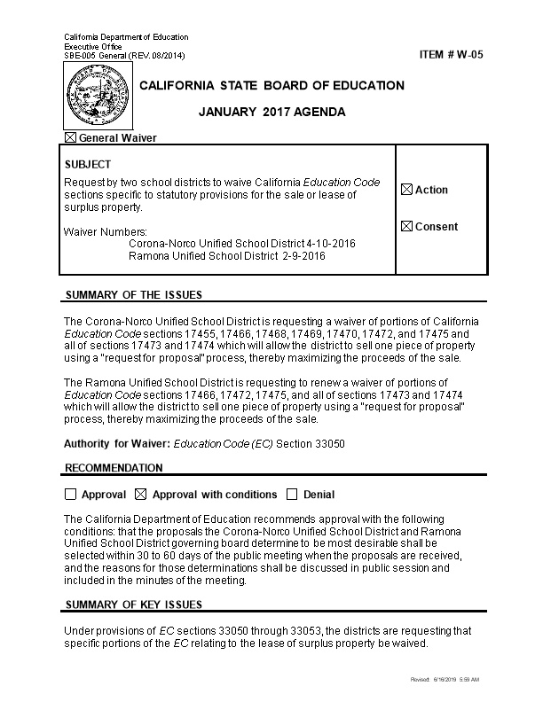 January 2017 Waiver Item W-05 - Meeting Agendas (CA State Board of Education)