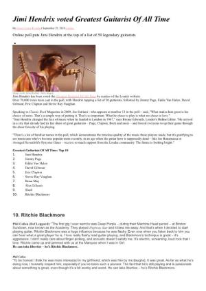 Jimi Hendrix Voted Greatest Guitarist of All Time