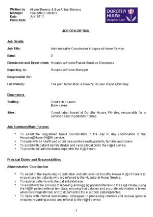 Job Title:Administrative Coordinator, Hospice at Home Service