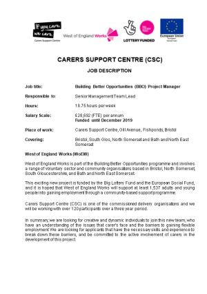 Job Title:Building Better Opportunities (BBO) Project Manager
