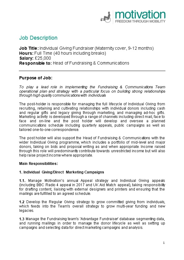 Job Title: Individual Giving Fundraiser (Maternity Cover, 9-12 Months)