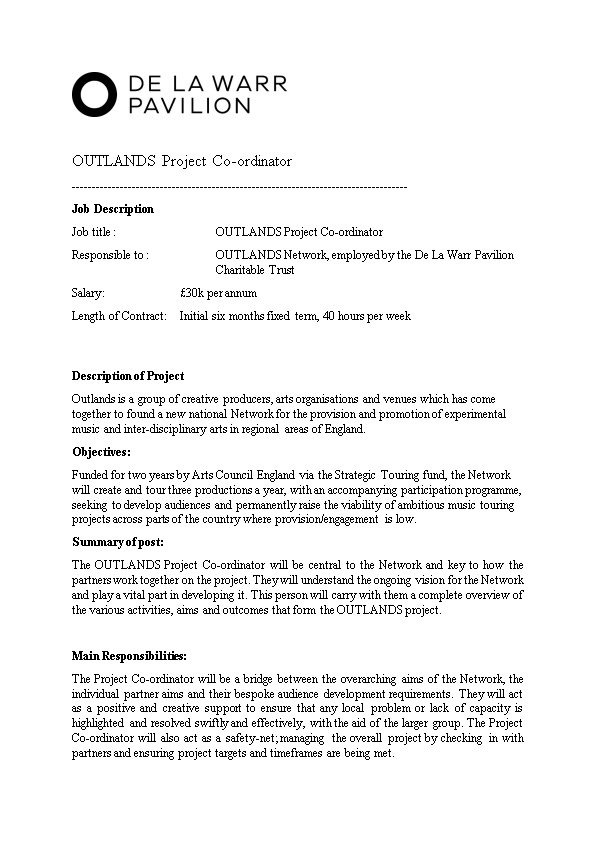 Job Title : OUTLANDS Project Co-Ordinator