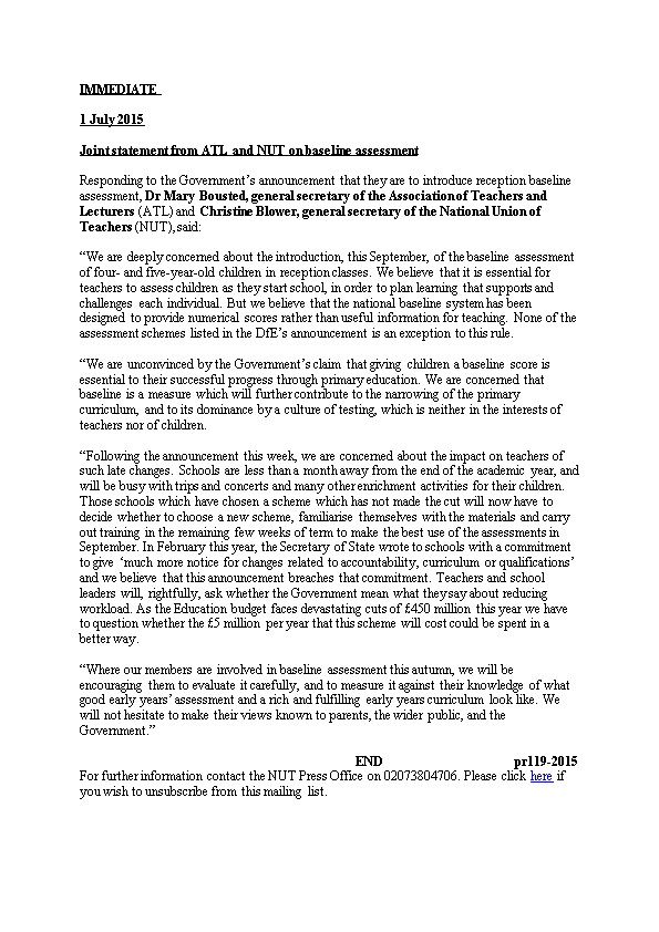 Joint Statement from ATL and NUT on Baseline Assessment