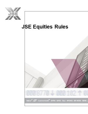 JSE Equities Rules - 28 March 2014