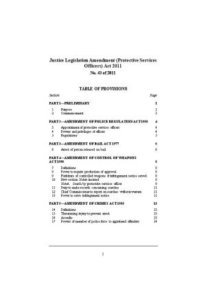 Justice Legislation Amendment (Protective Services Officers) Act 2011