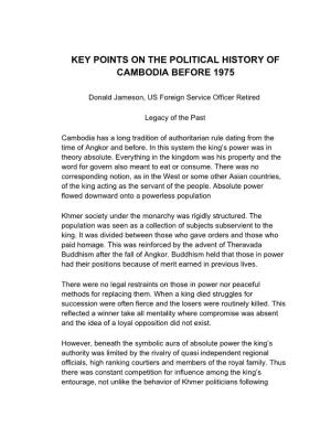 Key Points on the Political History of Cambodia Before 1975