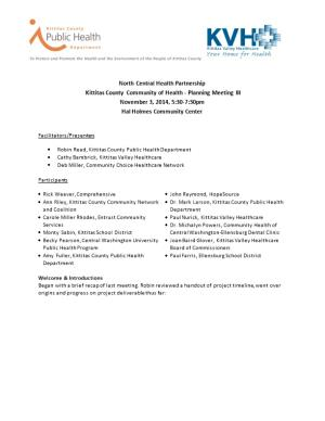 Kittitas County Community of Health - Planning Meeting III