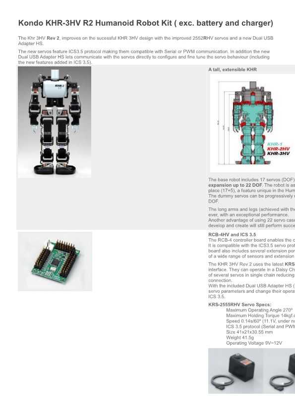 Kondo KHR-3HV R2 Humanoid Robot Kit ( Exc. Battery and Charger)