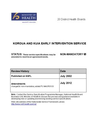 Koroua and Kuia Early Intervention Service