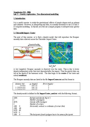 Lab 2 Gravity Exploration - Two-Dimensional Modelling