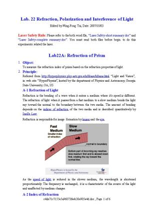 Lab. 22 Refraction, Polarization and Interference of Light