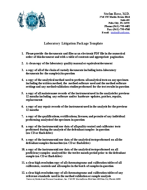 Laboratory Litigation Package Template