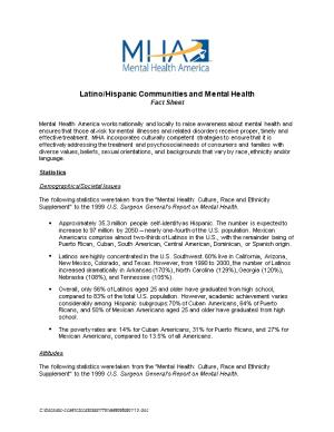 Latino/Hispanic Cultural Competency in the Campaign for America S Mental Health