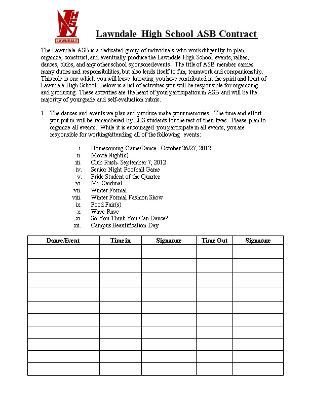 Lawndale High School ASB Contract