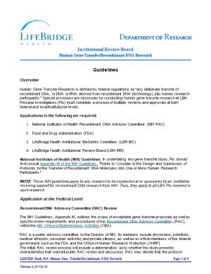 LBH IRB Guide #14: Human Gene Transfer/Recombinant DNA Research Page 1 of 4
