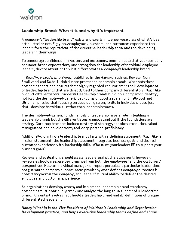 Leadership Brand: What It Is and Why It S Important