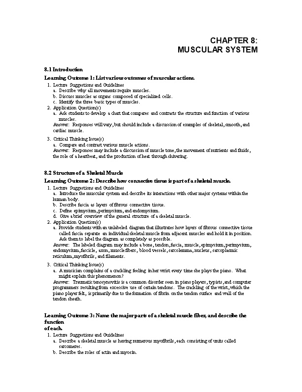 Learning Outcome 1: List Various Outcomes of Muscular Actions