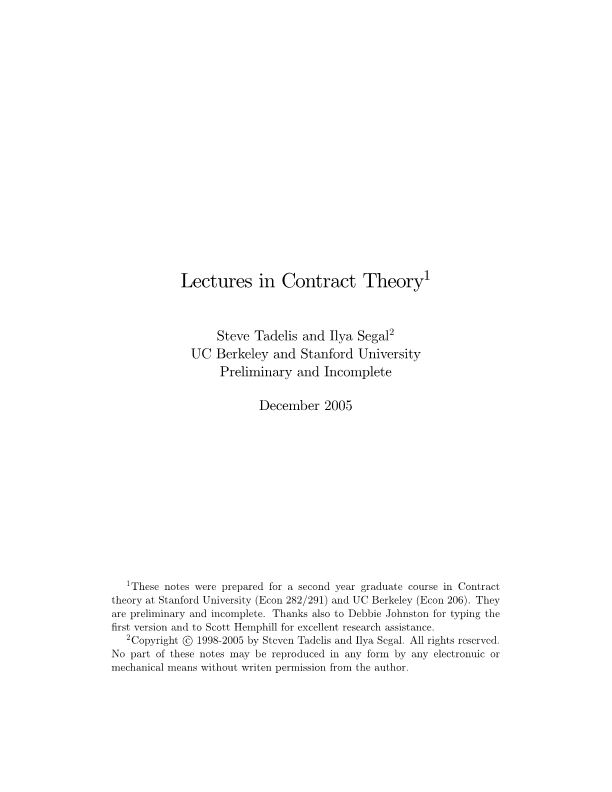 Lectures in Contract Theory