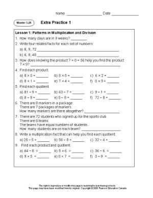 Lesson 1: Patterns in Multiplication and Division