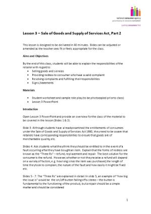 Lesson 4 Sale of Goods and Supply of Services Act, Part 2