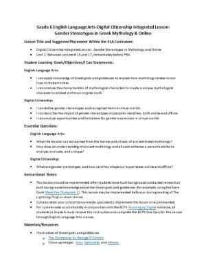 Lesson Title and Suggested Placement Within the ELA Curriculum