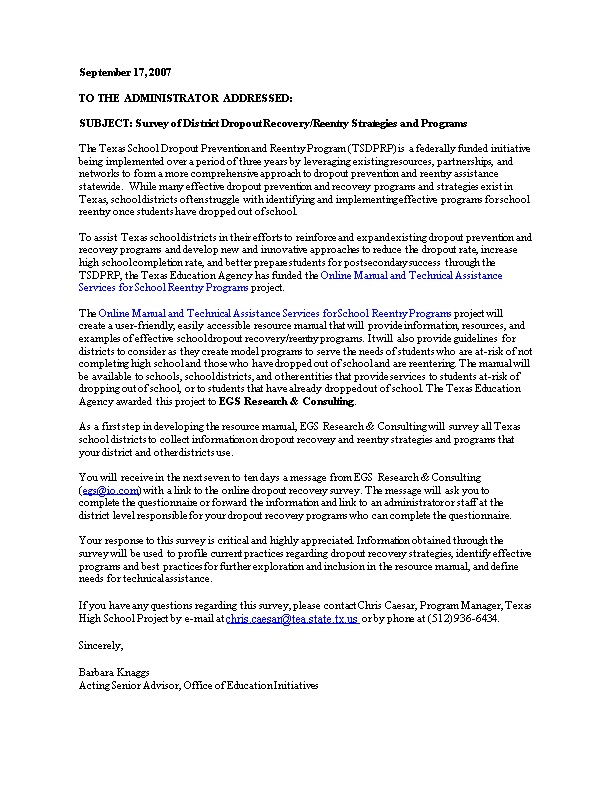 Letter to Superintendents from TEA