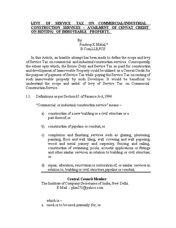 Levy of Service Tax on Commercial/Industrial Construction Services Availment of Cenvat