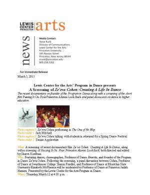 Lewis Center for the Arts Program in Dance Presents