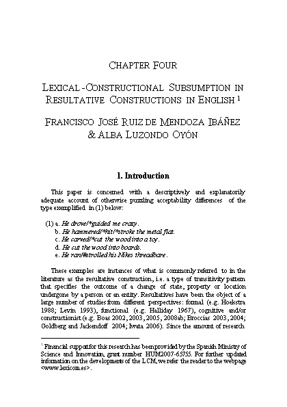 Lexical-Constructional Subsumption in Resultative Constructions
