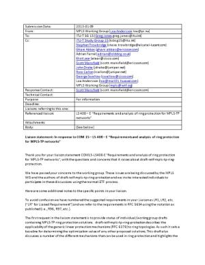 Liaison Statement: in Response to COM 15 LS 408 E Requirements and Analysis of Ring Protection