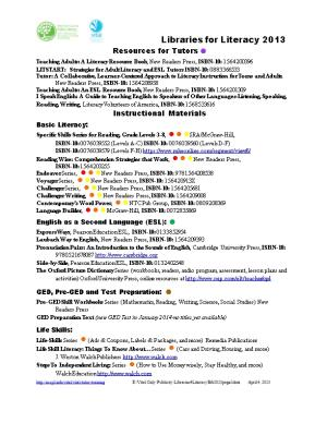 Libraries for Literacy Bibliography