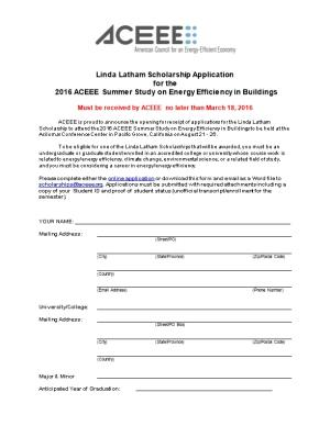 Linda Latham Scholarship Application