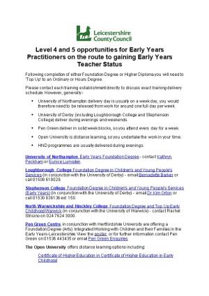 Linked Level 5 Entry Routes to Gaining Early Years Professional Status