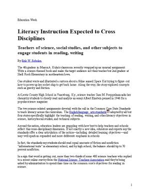 Literacy Instruction Expected to Cross Disciplines