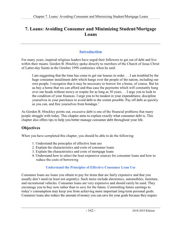 Loans: Avoiding Consumer and Minimizing Student/Mortgage Loans