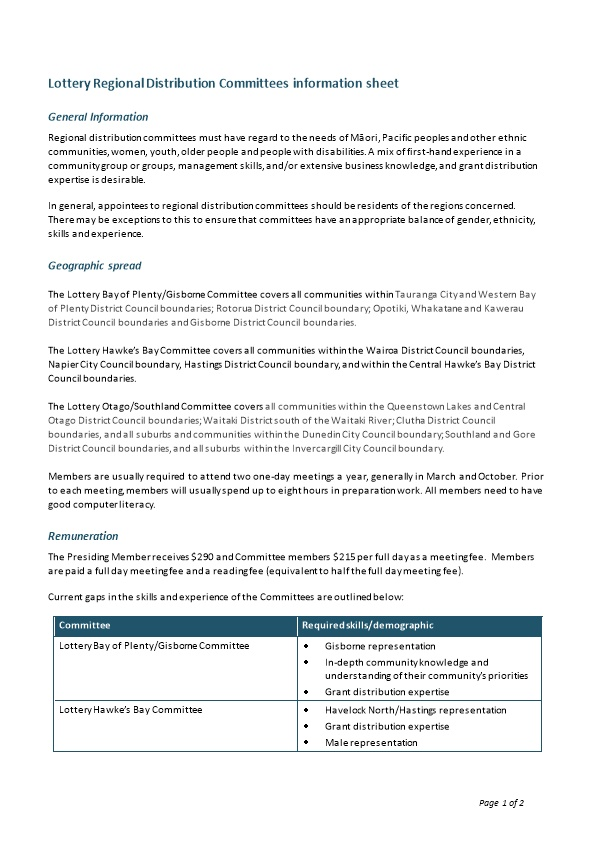 Lottery Regional Distribution Committees Information Sheet