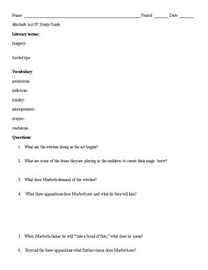 Macbeth Act IV Study Guide