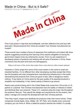 Made in China - but Is It Safe?