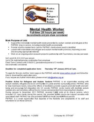 Main Duties and Responsibilities of Destitution Support Worker