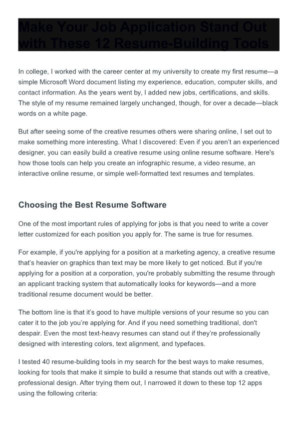 Make Your Job Application Stand out with These 12 Resume-Building Tools
