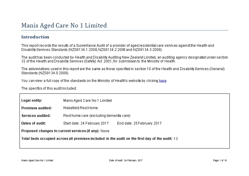 Manis Aged Care No 1 Limited