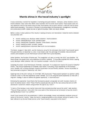Mantis Shines in the Travel Industry S Spotlight