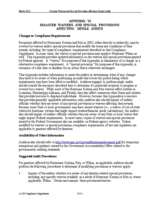 March 2011Disaster Waivers and Special Provisions Affecting Single Audits