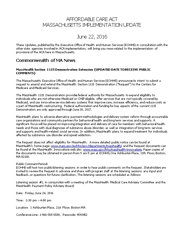 Masshealth Section 1115 Demonstration Extension (UPDATED DATE to RECEIVE PUBLIC COMMENTS)