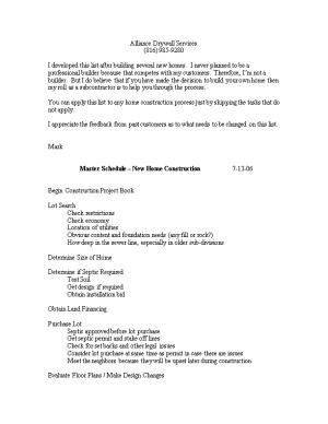 Master Schedule New Home Construction 4-28-03