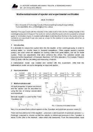 Mathematical Model of Ejector and Experimental Verification