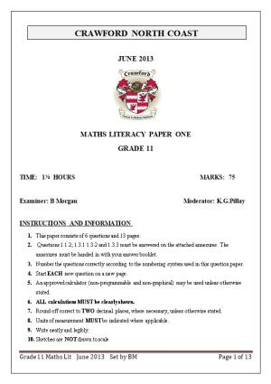 Maths Literacy Paper One