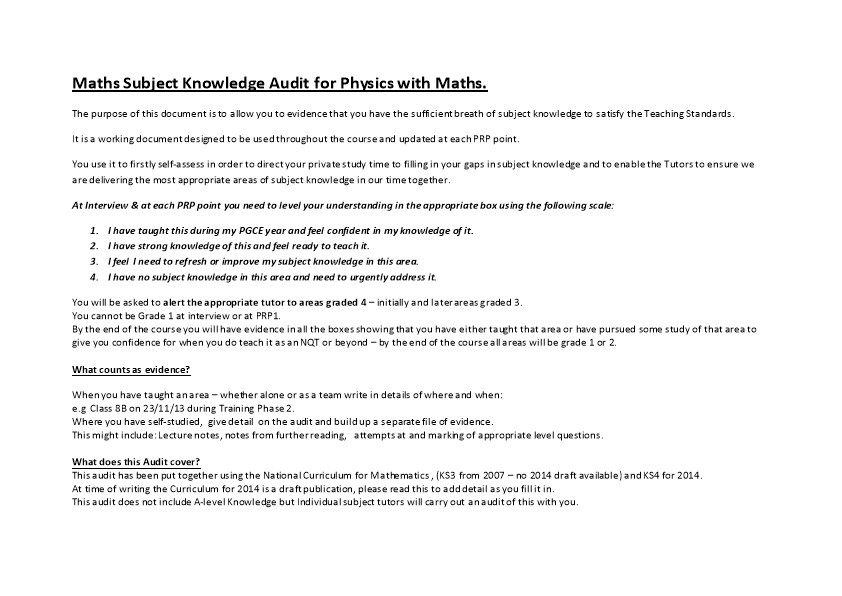 Maths Subject Knowledge Audit for Physics with Maths