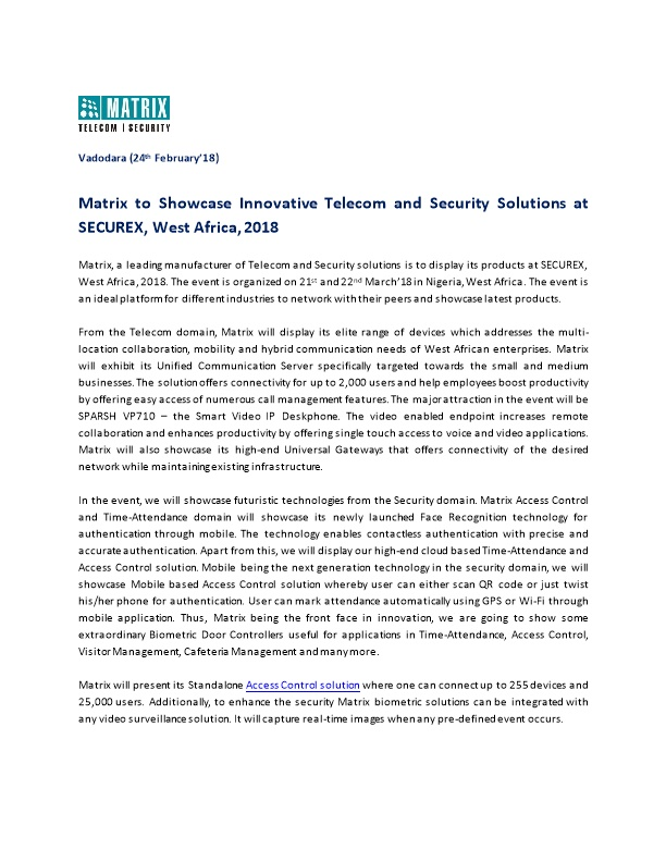 Matrix to Showcase Innovative Telecom and Security Solutions at SECUREX, West Africa, 2018